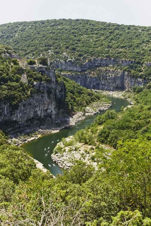 The Ardeche and the arrival of the Gorges at the campsite
